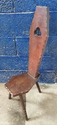 ~VINTAGE ~3 LEGGED ~WOODEN SPINNING STOOL with HIGH BACK ~ VGC~