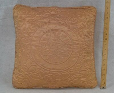 antique pillow satin quilted down filled dated 1938 Altman NY original vg