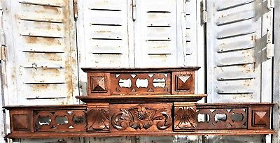 Coat Of Arms Pediment Antique French Hand Carved Wood Architectural Salvage