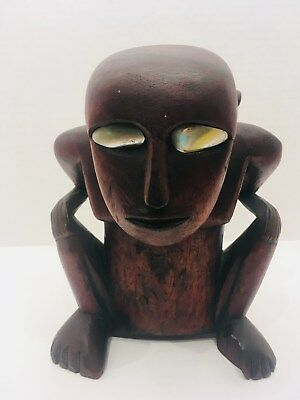 Monkeyman Palau figure, Caroline Islands, Micronesia, Shell Eyes, Satawan (1)
