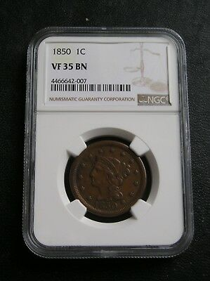 1850  Large Cent, Ngc Vf35 Bn   Graded & Certified, Nice