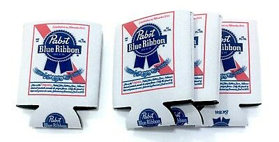 Pabst Blue Ribbon Beer PBR SET OF 4 Can Koozie Coozie Cooler OFFICIAL Insulated