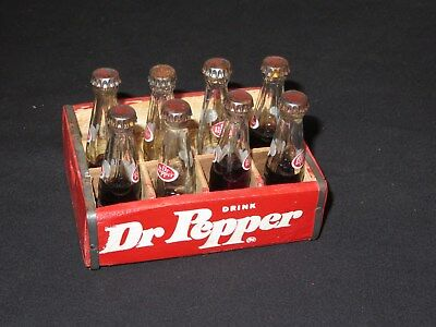 Vintage Dr Pepper Soda Glass Bottles Miniature 3 inch with wood case