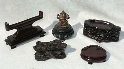 5 x ANTIQUE CARVED WOODEN SMALL ORIENTAL CHINESE JADE STANDS