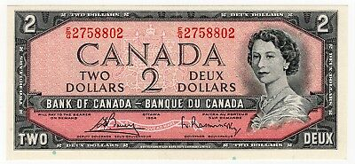 1954 Bank Of Canada Two 2 Dollar Bank Note Eg 2758802 Nice Bill Unc