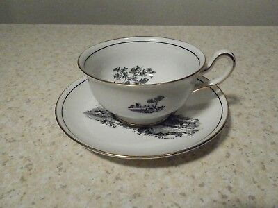 Royal Chelsea England Cup And Saucer Black Design W Gold Trim Goat And Mule