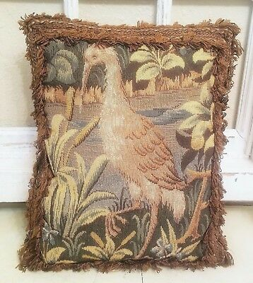 "Antique French Aubusson Needlepoint Woven Tapestry 15"" CRANE Bird Accent Pillow!"