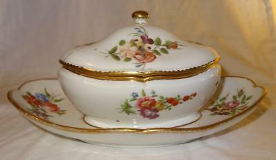 French SEVRES Style Porcelain Sucrier & Cover