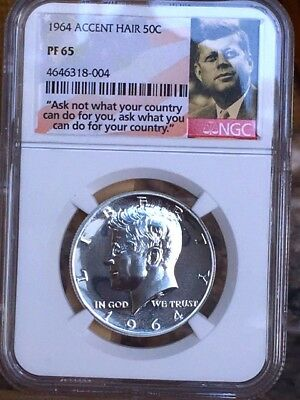 """1964 Accented Hair Kennedy Half NGC PF 65 * Price Guide $75 * """"Ask Not"""" Label *"""