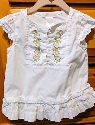 Girls 6-12 mo Janie and Jack peasant white embroidered top Spring Summer