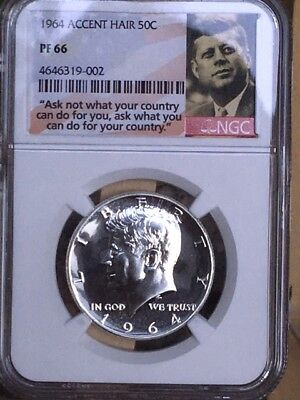 """1964 Accented Hair Kennedy Half NGC PF 66 * Price Guide $125 * """"Ask Not"""" Label *"""