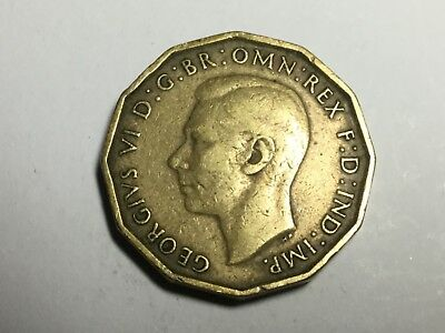 GREAT BRITAIN 1938 brass three pence coin circulated