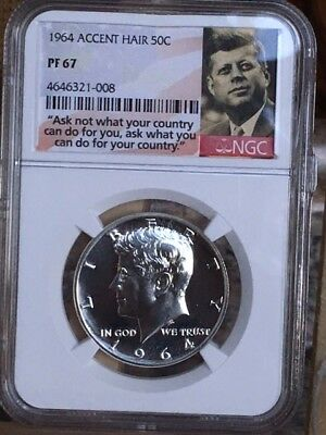 """1964 Accented Hair Kennedy Half NGC PF 67 * Price Guide $210 * """"Ask Not"""" Label *"""