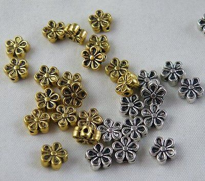 150pcs Tibetan Silver/Gold Color Flower Spacer Beads 7x3mm 476