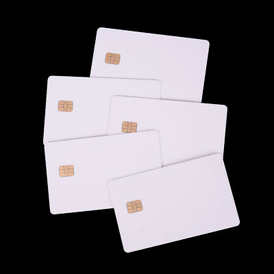 5X  ISO PVC IC With SLE4442 Chip Blank Smart Card Contact IC Card Safety White.