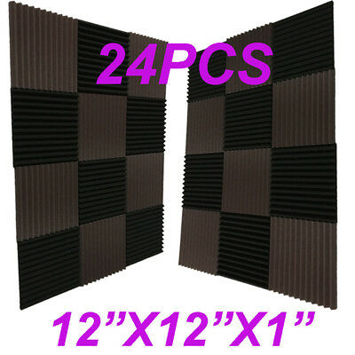 "24 Pack 12x12x1""BLACK/coffee Acoustic Wedge Studio Soundproofing Foam Wall Tiles"