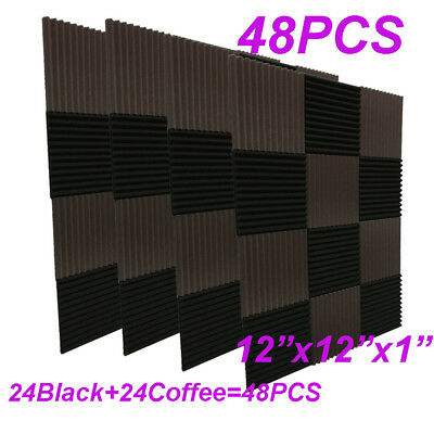 48Pack1x12x12Coffee BLACK Acoustic Panels Studio Soundproofing Foam Wedge tiles