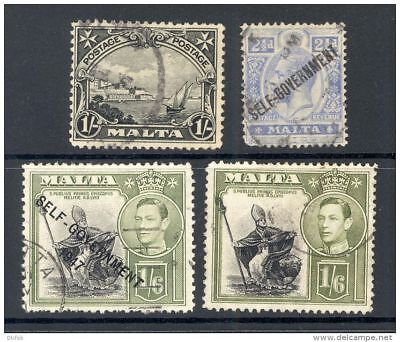 MALTA, 1930s, 4 stamps (1/- small tear, others short perf) (D)