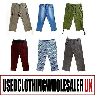 25 x WOMEN'S THREE-QUARTER CASUAL TROUSERS HIGH STREET CARGO WHOLESALE 10KG