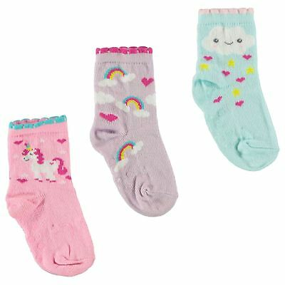 Crafted Essentials Kids Girls 3 Pack Unicorn Socks Baby Crew