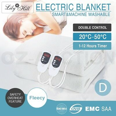 Double Size Electric Heated Blanket Bed Smart Fully Fitted White Fleecy Underlay