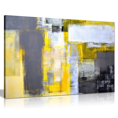 CONTEMPORARY ABSTRACT Grey & Yellow Painting Canvas Wall Art Picture ...