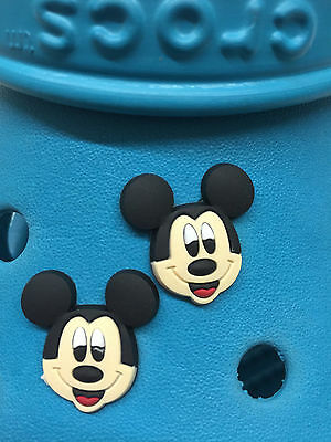 2 Mickey Mouse Shoe Charms For Crocs & Jibbitz Wristbands. Free UK P&P.