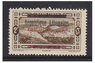 Lebanon - 1928, 2p Sepia - Overprinted in Red & Black - MNH - SG 128b