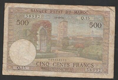 500 Francs From Morocco - French Colony 1956 A1