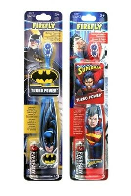 2 Firefly 3D Turbo Power Soft Battery Powered Toothbrush, Batman/ Superman