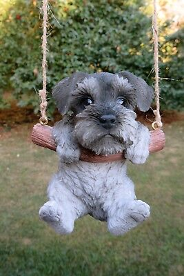 Schnauzer Puppy Figurine Dog On A Swing Resin Pet Ornament  New