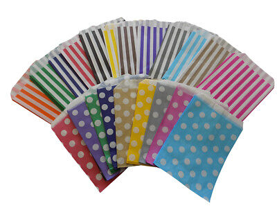 10 x Candy Polka Dot - Stripe paper Sweet Gift Party bags Weddings Birthday 5x7""