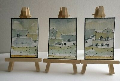 3 Original Watercolour Paintings ACEO - Early Morning Lull