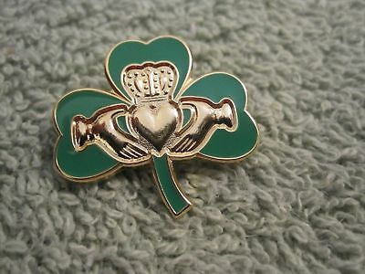 Ireland Shamrock Claddagh Brooch Pin Irish Celtic True Irish Green Badge