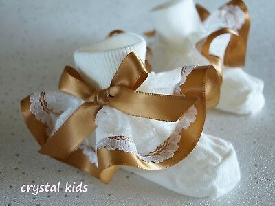 Baby Girls Cream Ivory Gold Christening Party Frilly Socks  ** HANDMADE **