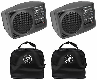 (2) Mackie SRM150 Powered Active PA Monitor Speaker + (2) Mackie Travel Bags