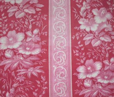 BEAUTIFUL GENTLY FADED MID 19th CENTURY FRENCH LINEN COTTON TOILE, FLOWERS