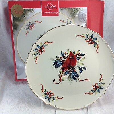 Lenox winter greetings cardinal bird 13 round platter plate serving lenox winter greetings cardinal bird 13 round platter plate serving dish w box m4hsunfo