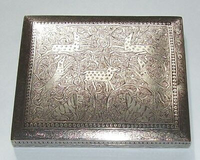 ANTIQUE INDIAN PERSIAN SILVER CIGARETTE CASE ENGRAVED ANIMALS TIGERS circa 1900