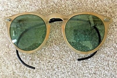 Vintage 1930s Bakelite Celluloid Art Deco Sunglasses With Green Tinted Lenses
