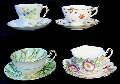 Vintage ENGLISH BONE CHINA Lot of 4 Tea Cups & Saucers Royal Crown Derby Rosina