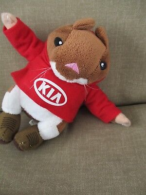 """KIA- Advertising Hamster in Red Hoodie Kia Graphic Removable Shirt- Stuffed 6"""""""
