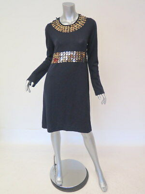 ccc7fb73024 Tory Burch Dress Gold-Embellished Navy Wool Size Large Long Sleeve Sweater  Dress