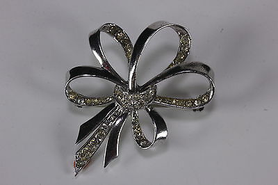 1940s Marcel Boucher Sterling Silver & Vermeil Bow Brooch Signed MP Phrygian Cap