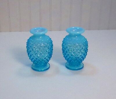 Vintage Pair Of Fenton Blue Topaz Opalescent Hobnail Glass Vases