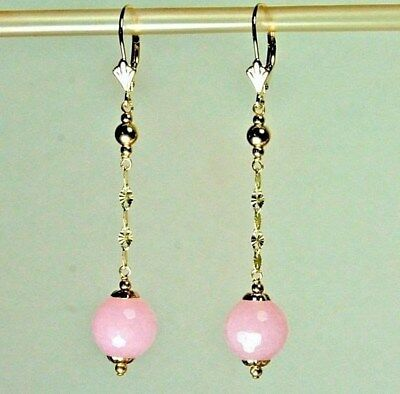 14k solid yellow gold round ball 10mm natural Rose Quartz earrings 3.6 grams