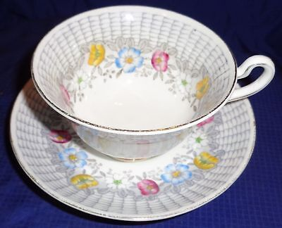 RP1797 Vtg Rosina Floral Flowers Fine Bone China England Teacup & Saucer