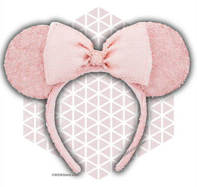 Disney Parks Millenial Pink Sequined Minnie Ears Mouse Ears Headband Rose New