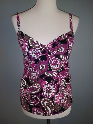 f157465f7a665 Lands' End Purple Pink Gray & White Tankini Swim Top Size: 6 Excellent  Condition