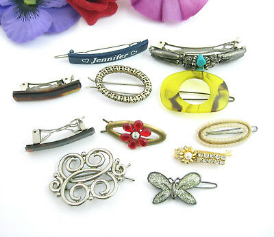 Lot of 10 pcs VINTAGE HAIR JEWELRY Accessories BARRETTES Rhinestone Turquoise